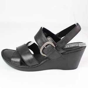 Born black leather slingback sandal wedge strappy